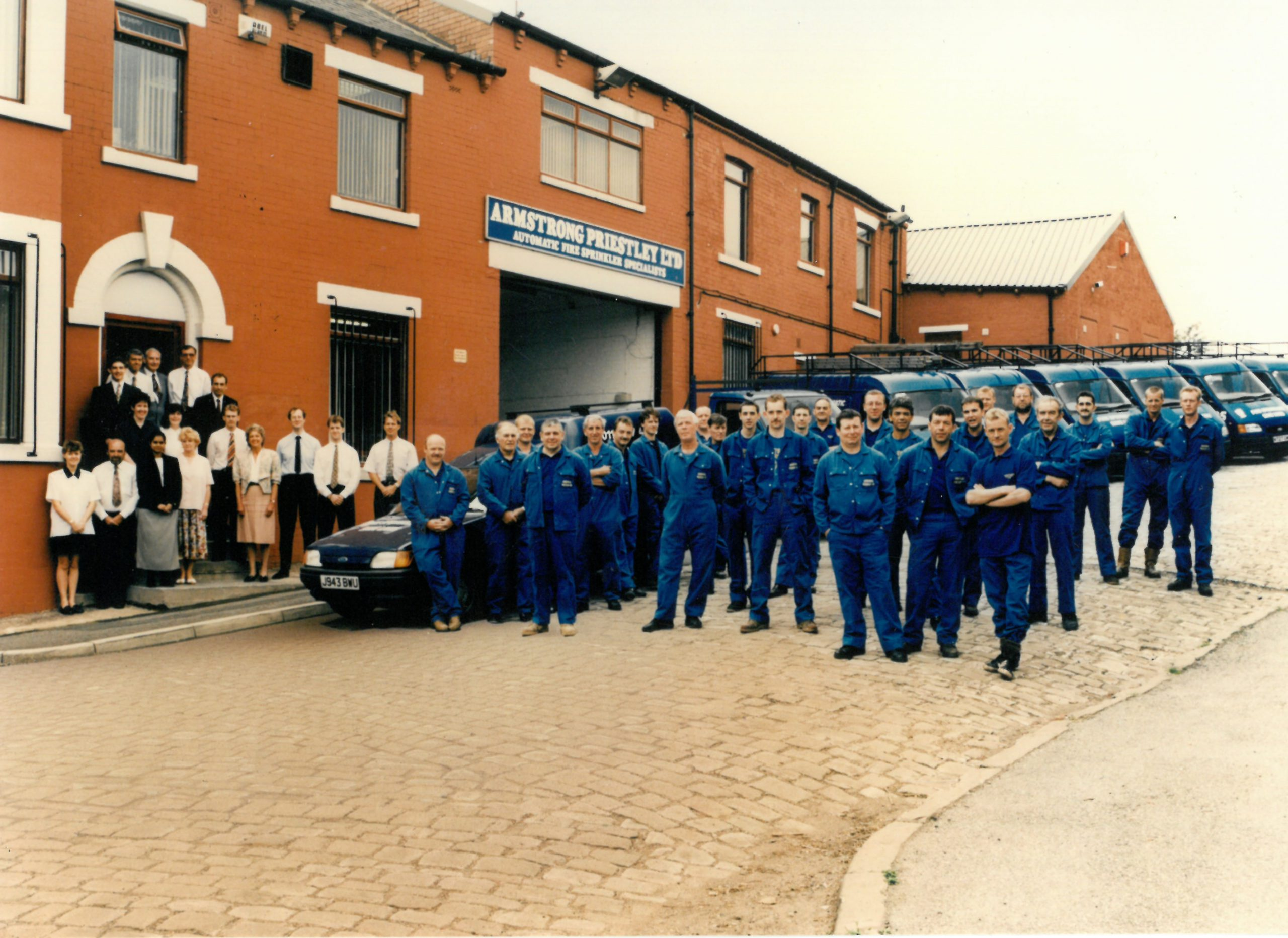 1995 Armstrong Priestley Employees outside of Flaxton House